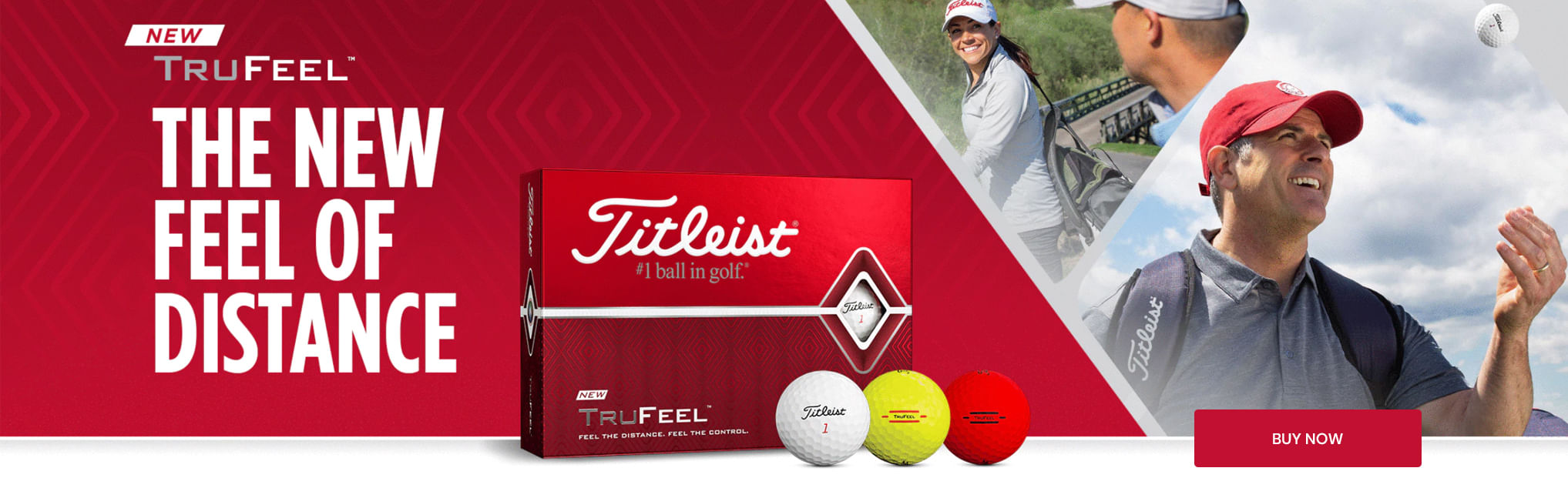Titleist TruFeel Golf balls in white, yellow, and red
