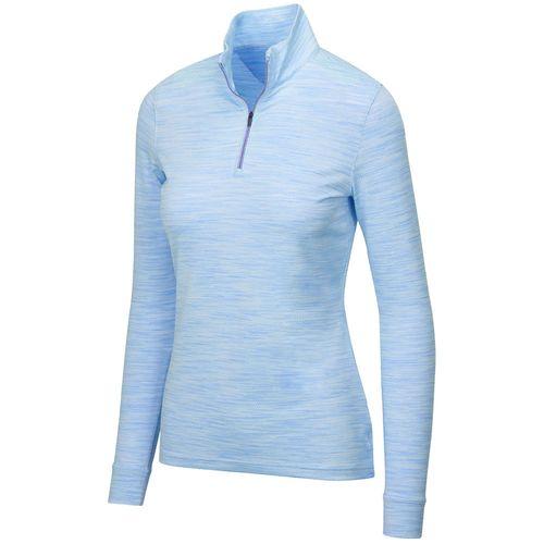 Greg Norman Women's Heathered Mesh 1/4 Zip Stretch Long Sleeve Mock