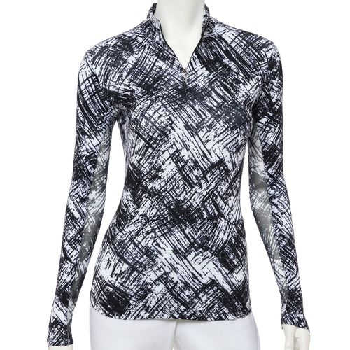 EP Pro Women's Bicolor Crosshatch Print Long Sleeve Zip Mock Polo