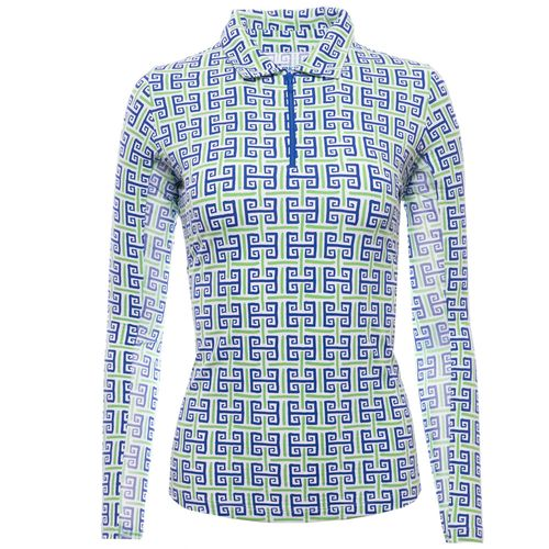 Ibkul Women's Geo Key Print Long Sleeve Polo