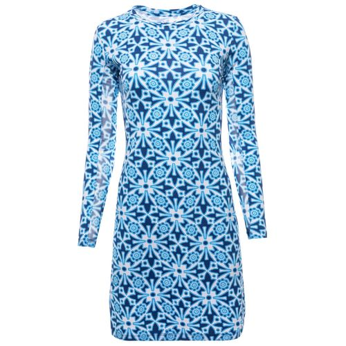 Ibkul Women's Moroccan Tile Print Long Sleeve Crew Neck Dress