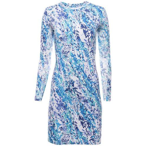 Ibkul Women's Cat Cay Print Long Sleeve Crew Neck Dress