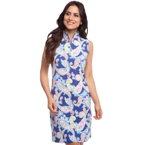 Ibkul Women's Sharon Print Sleeveless Mock Dress