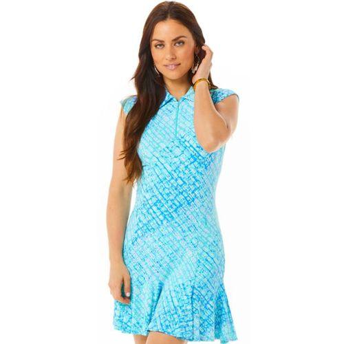 Ibkul Women's Liz Print Sleeveless Polo Dress