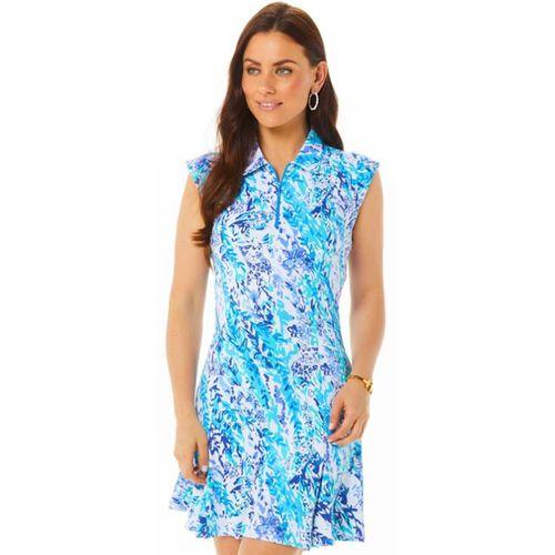 Ibkul Women's Cat Cay Print Sleeveless Polo Dress