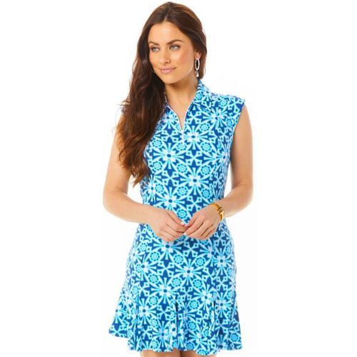 Ibkul Women's Moroccan Tile Print Sleeveless Polo Dress