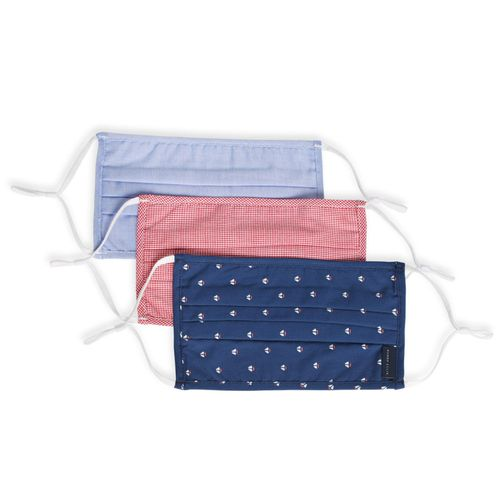 Perry Ellis Reusable Pleated Woven Fabric Face Masks - 3 Pack