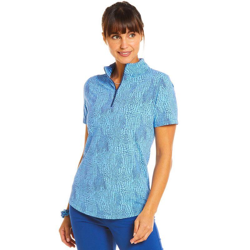 Ibkul-Women-s-Snake-Print-Short-Sleeve-Zip-Mock-Neck-Polo-2148731