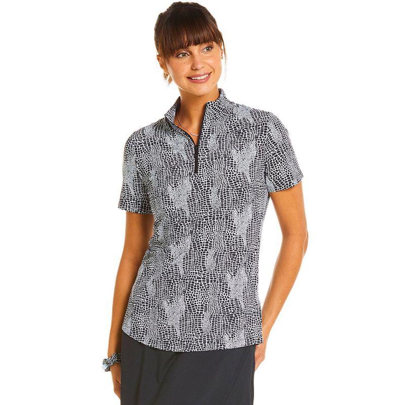 Ibkul-Women-s-Snake-Print-Short-Sleeve-Zip-Mock-Neck-Polo-2148731--hero